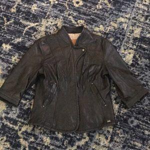 Emu Cropped Leather Jacket